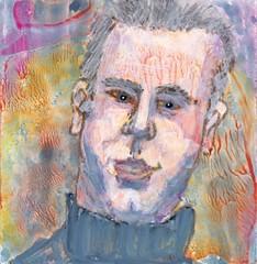 # 223 2017-12-10 (h e r m a n) Tags: herman illustratie tekening 10x10cm tegeltje drawing illustration karton carton cardboard kunst art portret portrait male man