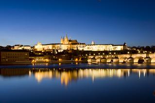 beautiful blue hour Prague