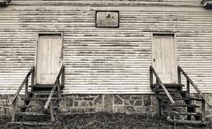 Two Doors (Bob G. Bell) Tags: doors church sign monroe bobbell fujifilm x30 creamery wv westvirginia
