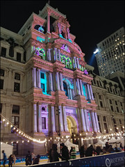 Ice Skating Under City Hall Light Show (raymondclarkeimages) Tags: usa raymondclarkeimages v30 outdoor 8one8studios rci smartphone lg vs996 philly philadelphia city cityhall lightshow iceskating people cameraphone lights winter christmas buildings architecture night street mystyle google yahoo flickr holidays