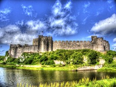 The Funky Castle (RS400) Tags: pembroke castle southwest wales travel hdr cool wow amazing wicked water sky blue clouds olympus pembrokeshire edit uk