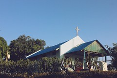 Rural Church (ainulislam) Tags: st saint architecture domes russian skyline night city outdoor building dusk people photoadd church sky blue retro rural photo serene border bangladesh rangamati chittagong tree tower grass canon 50mm sunlight daylight