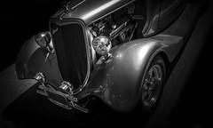 MOTORFEST '17 (Dave GRR) Tags: vehicle auto classic vintage antique hotrod chrome headlight hood silver grill black white monochrome show motorfest canada 2017 olympus omd em1 1240