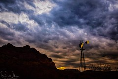 First Light (Arizphotodude) Tags: arizona sunrise dawn desert nature outdoors clouds windmill landscape morning reflection