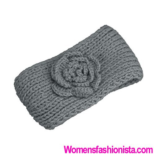 4403c06f533fb Qisc Womens Camellia Flowers Hair Hoop Headband Hairband Knitting Crochet  (Grey) (womensfashionista)