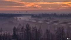 Winter of industry  (once again) (aldonaszczepaniak) Tags: mining silesia sunrise fogg road clouds sky