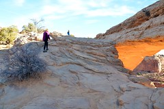 Everett & Mommy Climbing Near Mesa Arch (Joe Shlabotnik) Tags: canyonlandsnationalpark nationalpark mesaarch utah sue 2017 arch canyonlands everett november2017 proudparents afsdxvrzoomnikkor18105mmf3556ged