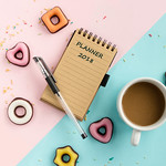 planner for 2018 year, coffee and marzipan cookies. top view thumbnail