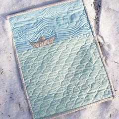 Paper boat mini (teaginny) Tags: baby quilt wallhanging mini paperboat boat