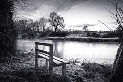 Hoddom Bridge (TrotterFechan) Tags: hoddom bridge river annan black white seat bench