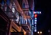 britex on geary (pbo31) Tags: sanfrancisco california december 2017 color night boury pbo31 city urban unionsquare shopping gearystreet black dark britex fabrics neon sign fireescape fashion tilt streetlight