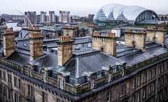 The Sage and the roof tops. (CWhatPhotos) Tags: cwhatphotos olympus esystem four thirds digital camera sigma 19mm art lens pictures picture photo photos image images foto fotos that have which contain taken newcastle tyne river chimney roof tops millenium bridge adobe lightroom em10 mk ii olympusomd retro look photography building buildings architecture old rainy rain wet day dull cold winter millenniumbridge thesage sage millennium