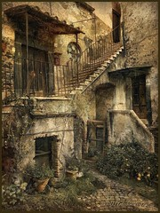 """From the series """"Walks in Italy"""".Courtyard in Bracciano. (odinvadim) Tags: mytravelgram textured textures iphone editmaster travel iphoneography iphoneonly painterly artist snapseed landscape specialist iphoneart graphic painterlymobileart globetravel autumn italy"""