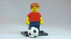 Brick Yourself Custom Lego Figure Kid with red hair red shirt and foorball