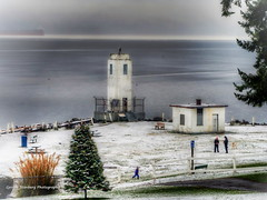 Browns Point Lighthouse (George Stenberg Photography) Tags: washingtonstate pacificnorthwest lighthouse brownspoint christmastree snow water