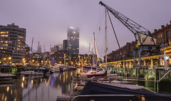 Entrepothaven (chrisvanes) Tags: rotterdam harbour lights night boats yachts crane old architecture water decoration city citycentre clouds fog thebluehour