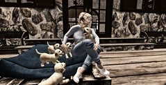 Lil and her Puppies (StormCrow Photography) Tags: puppy puppies blond blonde people dogs animals love home family virtual avatar secondlife portrait pets