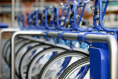 Bikes-5 (Steve Mo) Tags: sheffield university bike rack blue white boris bikes canon 70d 85mm black
