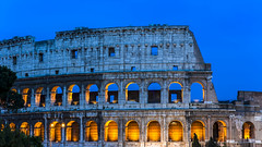 colossal blue (Blende1.8) Tags: rom rome roma italien italy ancient colosseum kolosseum mauer wall facade fassade blue orange bluehour travel evening lights antike antikesrom carstenheyer nikon d700 architecture architektur colosseo italia
