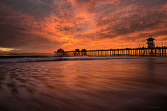 Sea Of Red (buiTchuong) Tags: sunset beach ocean clouds pier southerncalifornia seascape water waves