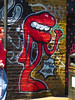 Yosh Renata (Steve Taylor (Photography)) Tags: lips thumb litter bin polkadots yoshckt yoshlepoisson mouth legs arms graffiti mural streetart tag red white yellow pink black fun lady woman uk gb england greatbritain unitedkingdom london