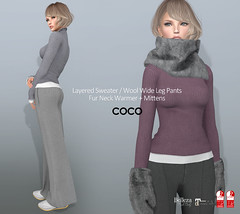 COCO_Fameshed_Jan.2018 (cocoro Lemon) Tags: coco fameshed newrelease mesh sweater fur neckwarmer mittens wideleg pants secondlife fashion maitreya slink belleza