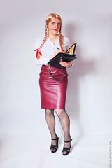 Back to work 1 (eileen_cd) Tags: secretary leatherskirt highheels patternedtights braids bows whiteblouse takingnotes crossdresser transvestite cd tv standing