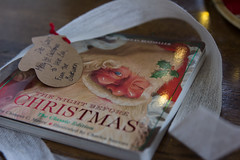 The Bookworm Returns (EmKHill) Tags: baby first christmas book bookworm gift tag ribbon present children night before