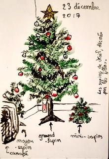 Les sapins de Noël du salon.