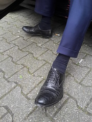 Rich East European Business Daddy [VIDEO!] (TBTAOTW2011) Tags: businessman business man rich suit cufflinks tie shirt pants socks feet foot black leather dress shoe shoes sole soles sitting daddy dad old mature belly