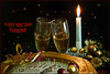 Happy New Year (Lindaw9) Tags: clock new years eve glasses candle decorations ribbon fire editing spot metering
