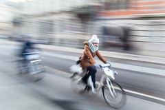 Copenhagen cyclist-7774 (toniertl) Tags: copenhagen2017 denmark toniphotoxoncouk cyclist roadster bicycle motionblur intentionalcameramovement wideanglepanning ridingpast girlonabicycle cold winter december