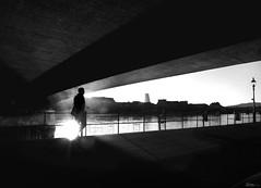 a sunny morning on the riverbank (René Mollet) Tags: walking walk rhein riverside sunrise sunny morning street streetphotography shadow silhouette streetart streetphotographiebw schwarzweiss blackandwhite bw basel backlight candite penf people renémollet