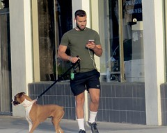 IMG_0867 (danimaniacs) Tags: hot sexy man guy dog pet hunk run runner jog jogger street beard scruff cellphone shorts