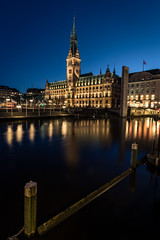 Blue hour (RS0815) Tags: rathaus townhall hamburg bluehour blauestunde blue longtimeexposure alster lights citylight night darkness city 20mm nikon nikond750 f16 river sundset historic architecture water