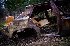 Car Seats (Space Pant) Tags: car abandoned missouri kansascity plasticchairs rust poop graffiti broken canon eosm