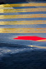 Colourful crossing (James_D_Images) Tags: crossing crosswalk yellow lines pavement asphalt brick sidewalk rain puddle reflection red sun shadow abstract pattern
