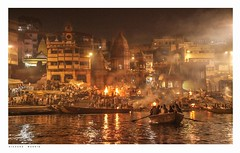 Rowing into the Burning Ghat, Varanasi, India, seen from the Ganges  by night. (Richard Murrin Art) Tags: rowingintotheburningghat varanasi india seenfromthegangesbynight richard murrin art photography canon 5d landscape travel images building cool