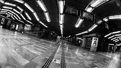 MC Peleng 8 mm f/ 3.5 A ( МС Пеленг 3,5/8А ) - DSCF0151 (::Lens a Lot::) Tags: mc peleng 8 mm f 35 a paris | 2017 fisheye darkness underground noise night light street streetphotography bw black white monochrome vintage manual prime fixed length classic lens ruelle personnes route bâtiment metro subway gate station lignes train plafond russian architecture