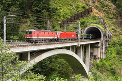 Tauernbahn (3) | 1144.212 + 1116.114 OBB | Oberfalkenstein - Mallnitz-Obervellach | 2.7.2017 (lofofor) Tags: electric 1144 212 1116 114 taurus obb austria rakúsko alpy tauernbahn most viadukt tunel tunnel bridge oberfalkenstein mallnitzobervellach ochenigtunnel kaponiggrabenbrücke kaponigtunnel