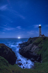 Nightlight (Dancing.With.Wolvez) Tags: night time lighthouse light house stars ship crab boat water ocean winter blue waves crash searching safe sail beacon hope clouds galaxy universe notice appreciate looking wandering distance california coast rocks sea alone lonely