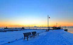 Cold Benches (Daniel Q Huang) Tags: sunrise winterscape lake frozen snow