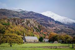 Beddgelert (Mariasme) Tags: wales church beddgelert mountains snow landscape trees reedit autumn challengeyouwinner