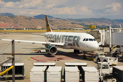 Frontier Airbus 319 at SLC (Jeff_B.) Tags: wyoming yellowstone jackson jacksonhole grandteton nationalpark america usa frontier airlines airport plane airbus airline slc travel a319 utah saltlakecity