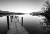 Derwent Water and a snow-capped Skiddaw (S Howlett) Tags: blackandwhitephotography landscapephotography skiddaw lakedistrict cumbria derwentwater winter snowcapped reflection lake jetty