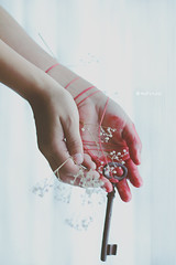 bonds* (Wolf's Kurai) Tags: hands blood key symbolism bloody flowers red thread wolfkurai wolfskurai