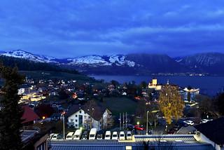Spiez at night.15.11.17, 18:36:54.Canton of Berne, Switzerland. No. 1317.