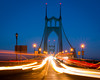 St Johns Bridge (joshvanderzanden) Tags: oregon portland pdx pacificnorthwest stjohns bridge dusk lighttrails sky night longexposure architecture cars movement