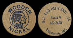 Bob and Pat's Antiques Token - Valparaiso, Indiana (Shook Photos) Tags: token tokens coin coins money woodennickel novelty bobpatsantiques bobandpatsantiques valparaisoindiana valparaiso indiana portercounty