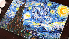 Starry Night Painting by Kitslam (Kitslams Art) Tags: starrynight vangoghpainting vangogh vincent expressionism expressionist painting paint art artist arts starry night classicart classics kitslamsart kitslam youtube youtuber